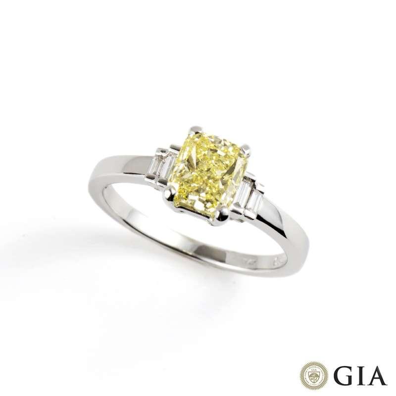 18k White Gold Natural Fancy Yellow Diamond Ring 1.03ct